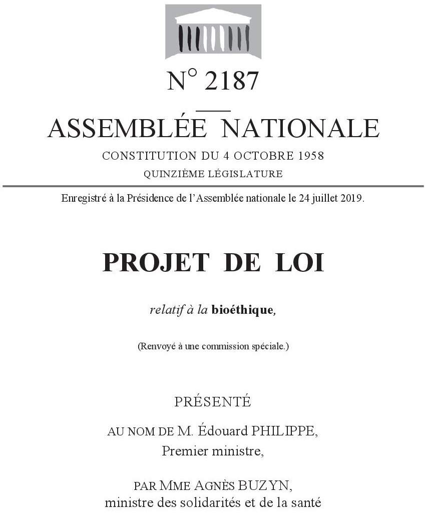 Télécharger le projet de loi bioéthique 2019 (PDF)