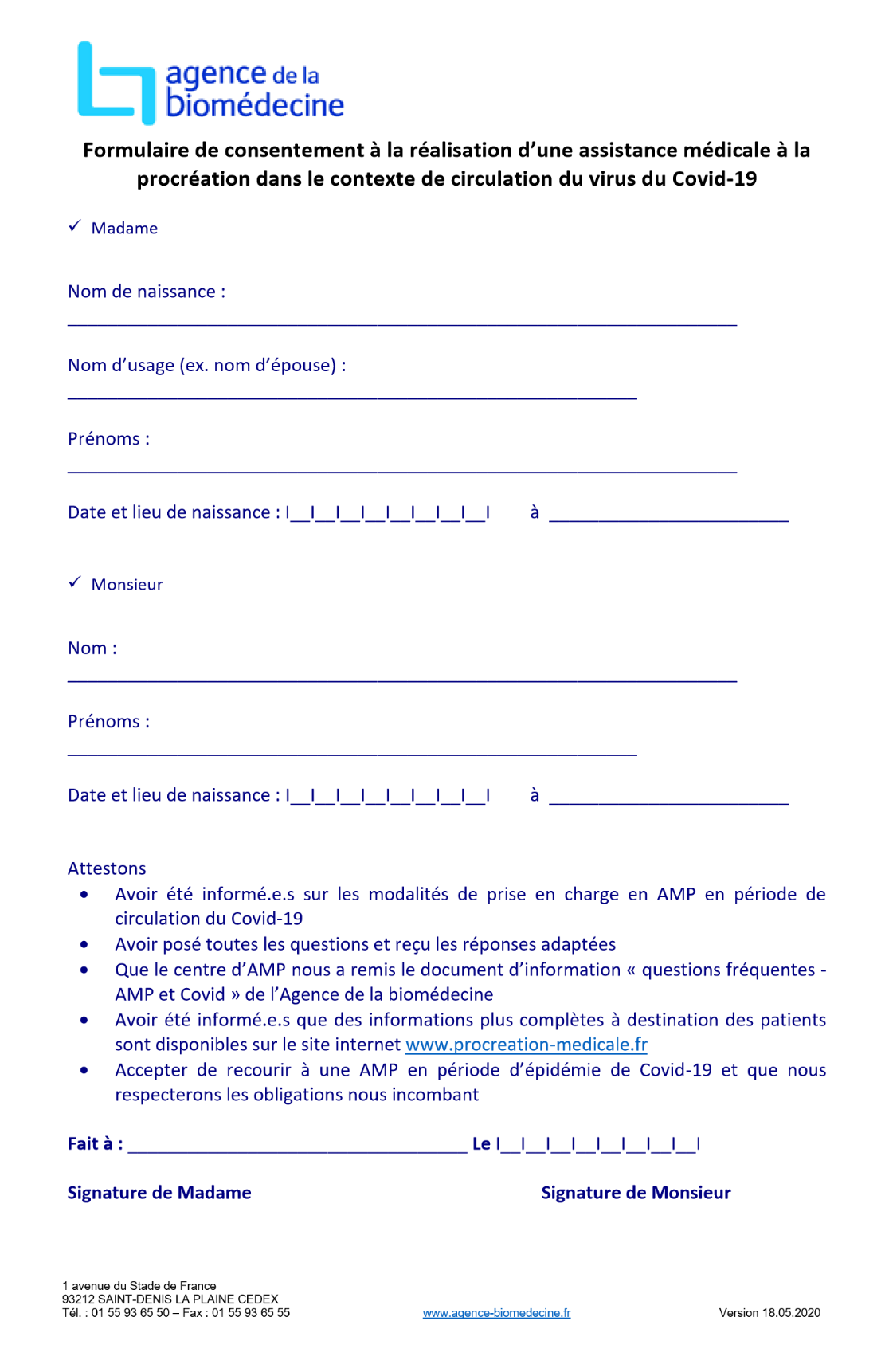 Formulaire consentement covid19